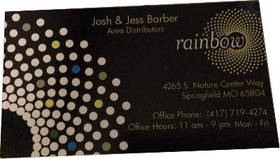 Springfield mo authorized rainbow vacuum distributor for Business cards springfield mo